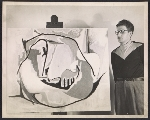 [Herbert Aach with his painting Embryo]