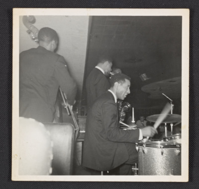 George Morrow, Max Roach, Sonny Rollins and Kenny Dorham on stage