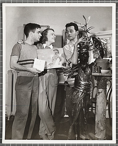 Karl Priebe, Dudley Huppler, and unidentified woman