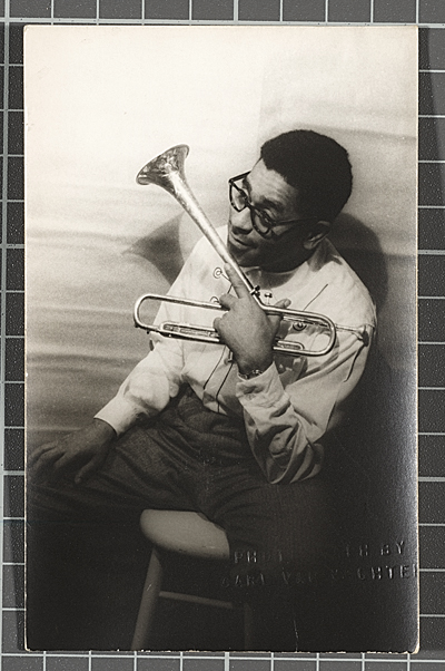 Dizzy Gillespie with trumpet