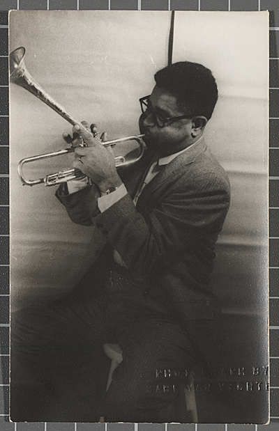 Dizzy Gillespie playing a trumpet