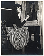 Gertrude Abercrombie at work on a painting