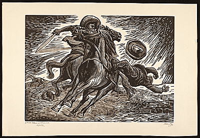 Two men dueling on horseback