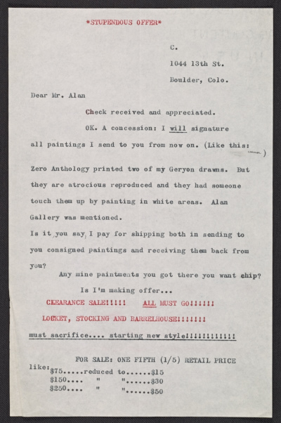 Bruce Guldner Conner, Boulder, Colorado letter to Charles Alan, New York, New York