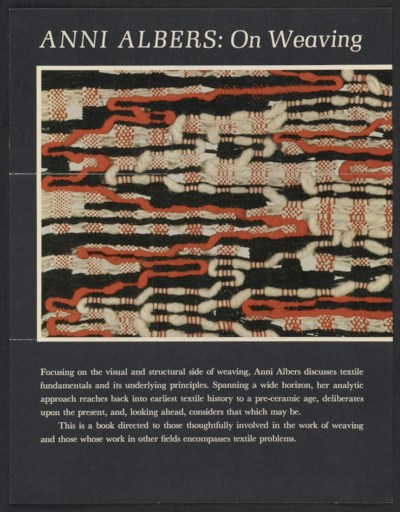 [Flyer advertising Anni Albers' book On Weaving]