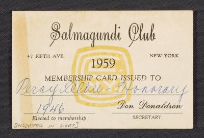 [Percy Albee's Salmagundi Club membership card]