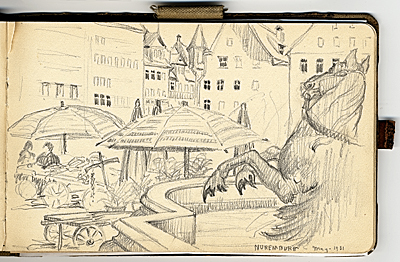 Grace Albee sketchbook of travel in Germany and France