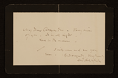 [James McNeill Whistler letter to John White Alexander]