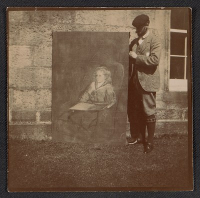 John White Alexander with one of his paintings