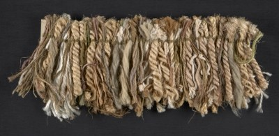 Fiber samples in natural, mauve and celadon