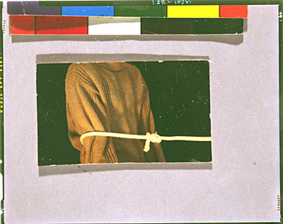 "[Three photographs: Letter to Bill Allan from Bruce Nauman ,""Three Well-known Knots"" - Square knot, Bowline and Clove hitch]"