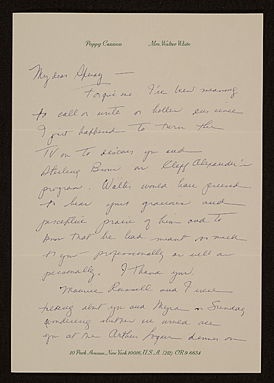 Poppy Cannon, New York, N.Y. letter to Charles Henry Alston