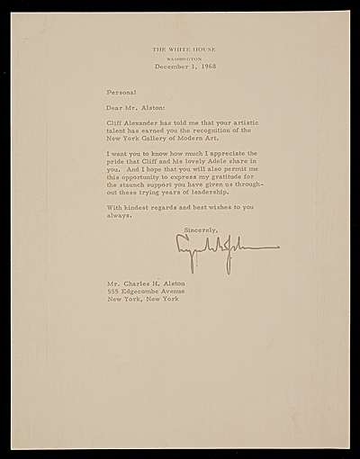 Lyndon Baines Johnson, Washington, D.C. letter to Charles Henry Alston, New York, N.Y.