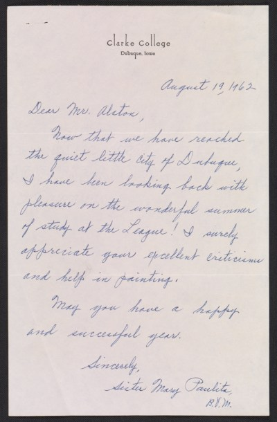 Sister Mary Paulita Kerrigan letter to Charles Henry Alston