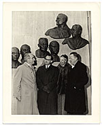 Edmond Amateis with Eleanor Roosevelt at the Polio Wall of Fame
