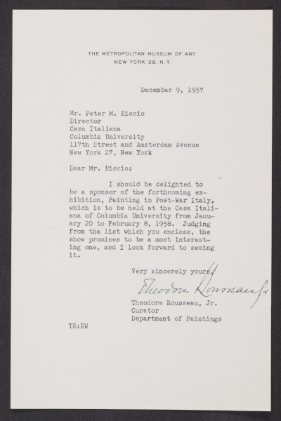 A letter from Theodore Rousseau, Jr., Curator in the Department of Paintings at the Metropolitan Museum of Art, to Peter M. Riccio at Columbia University