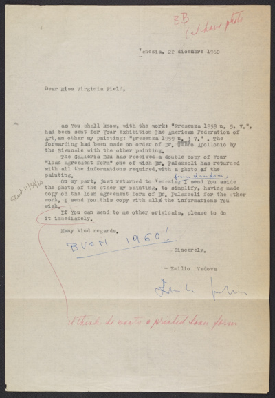 A letter form Emilio Vedova to Virginia Field regarding a loan agreement