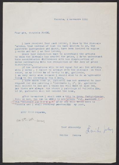 A letter form Emilio Vedova to Virginia Field