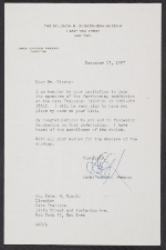 A letter from James Johnson Sweeney, Director of the Solomon R. Guggenheim Museum, to Peter M. Riccio at Columbia University