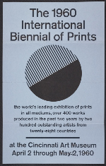 A flyer for the 1960 International Biennial of Prints exhibition at the Cincinnati Art Museum