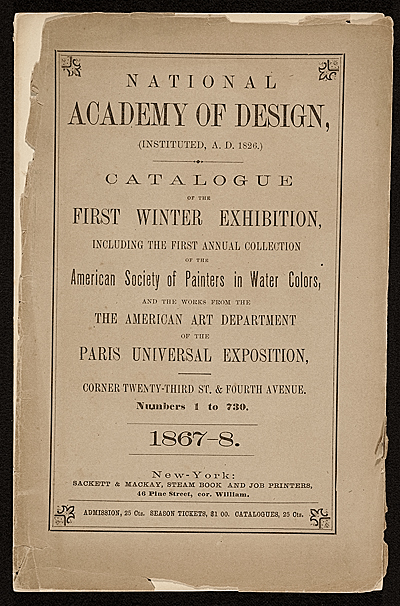 First Winter Exhibition  catalog of the National Academy of Design