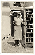 Edna Andrade aboard a steamship