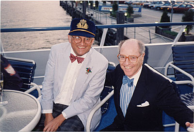[David Hockney and André Emmerich on a boat]