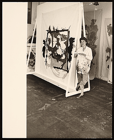 [Helen Frankenthaler with one of her paintings]