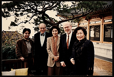 [Kyung Mee Park, Andre Emmerich, Madame Hong Lee, James Yohe, and Hyong Sook Kim]