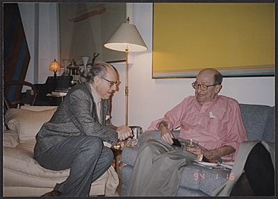 [André Emmerich seated with Clement Greenberg on Greenberg's 85th birthday]