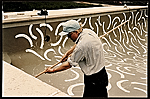 [David Hockney painting the interior of André Emmerich's pool ]