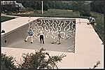 [Andre Emmerich watching David Hockney painting the interior of Emmerich's swimming pool ]