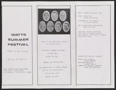[Brochure for the Watts Summer Festival 6th annual art exhibition]
