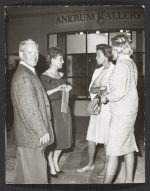 [Hans Burkhardt, Joan Ankrum, and two unidentified women at an art opening at Ankrum Gallery 1]