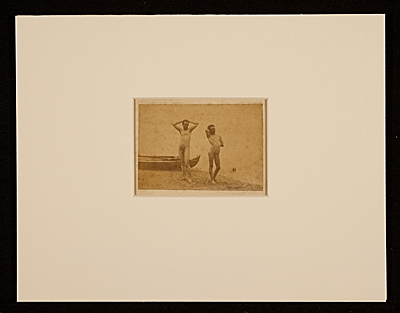 [Thomas Eakins and J. Laurie Wallace posing at waters edge]