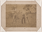 Figure study using men posed as boxers standing in a field