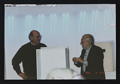 [Stephen Antonakos and Sol LeWitt at the Time Boxes 2000 event]