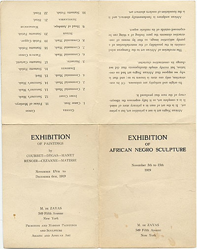 [Exhibition of African Negro Sculpture]