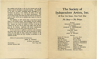 Exhibition catalogue of The Society of Independent Artists
