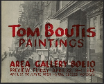 Area Gallery flyer for Tom Boutis paintings exhibition preview