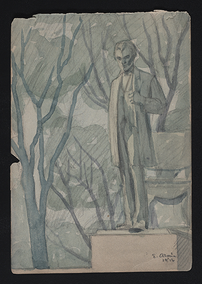 [Watercolor sketch of sculpture of Abraham Lincoln in Lincoln Park, Chicago]