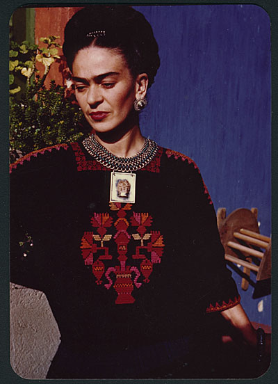 Frida Kahlo in the patio of her house, Coyoacán, Mexico