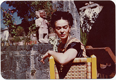 [Frida Kahlo on the patio of her house in Coyoacán, Mexico]