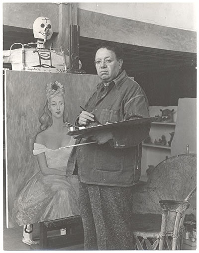 Diego Rivera at work in his studio