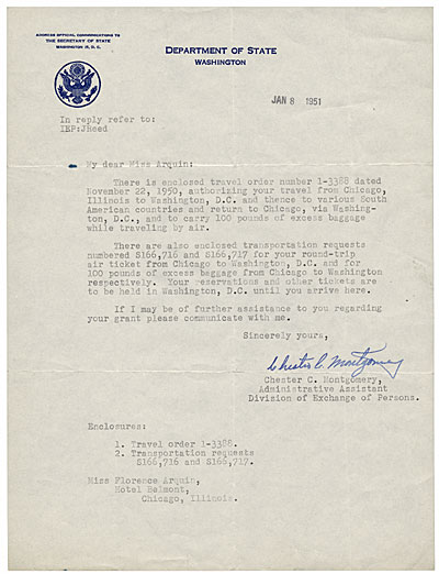 [Chester C. Montgomery, Washington, D.C. to Florence Arquin, Chicago, Ill.]