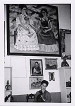 Frida Kahlo in her studio with The Two Fridas, Coyoacán, Mexico