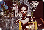 Frida Kahlo on the patio of her house in Coyoacán, Mexico