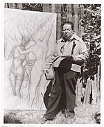 Diego Rivera painting outside
