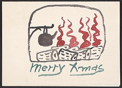 Philip Guston Christmas card to Elise Asher