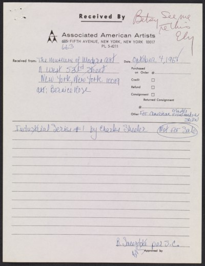 Associated American Artists receipt form for Industrial series #1 by Charles Sheeler